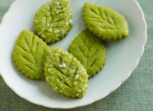 matcha tea leaf shortbreads